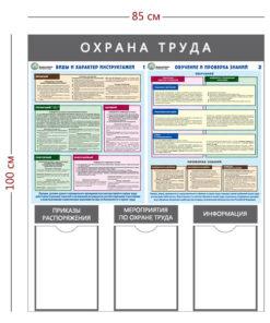 Стенд «Охрана труда» (3 кармана А4 + 2 плаката) с надписями