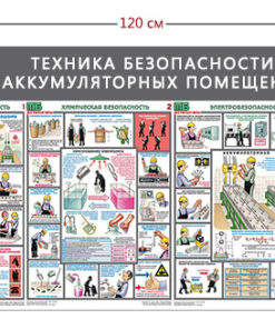 Стенд «Техника безопасности в аккумуляторных помещениях» (1 карман А4 + 3 плаката)