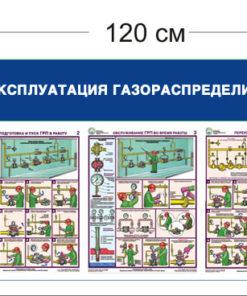 Стенд Безопасная эксплуатация газораспределительных пунктов 45х125см (1 объемный карман А5 +4 плаката)