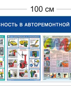 Стенд Безопасность в авторемонтной мастерской 45х100см (1 карман А4 + 3 плаката)