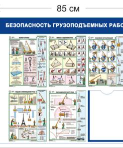 Стенд Безопасность грузоподъемных работ 75х85см (1 карман А4 + 5 плакатов)