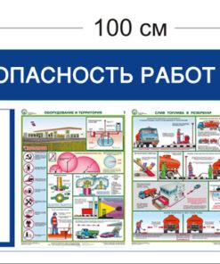 Стенд Безопасность работ на АЗС 1 карман 45х100см (1 карман А4 + 3 плаката)