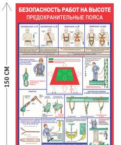 Стенд Безопасность работ на высоте. Предохранительные пояса 150х100см (13 плакатов)