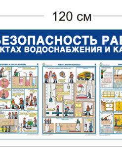 Стенд Безопасность работ на объектах водоснабжения и канализации 120х45см (1 карман А4 + 4 плаката)