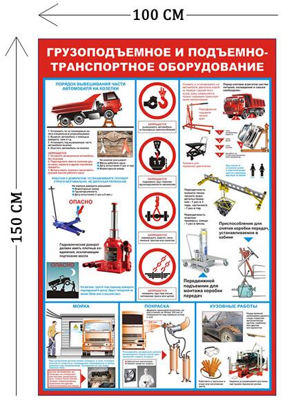 Стенд Грузоподъемное и подъемно-транспортное оборудование 150х100см (12 плакатов)
