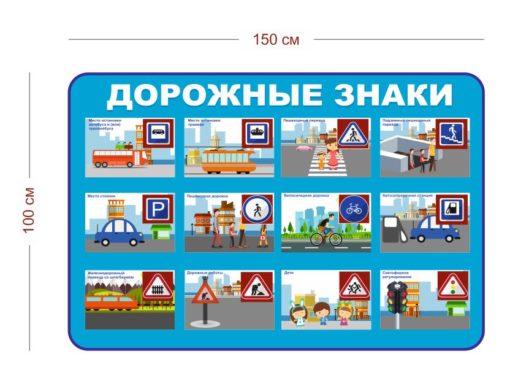 Стенд Дорожные знаки для детей 150х100 см
