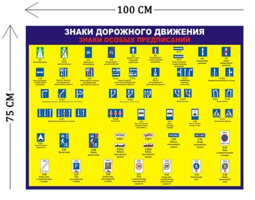 Стенд Знаки дорожного движения предписывающие 75х100см (1плакат)