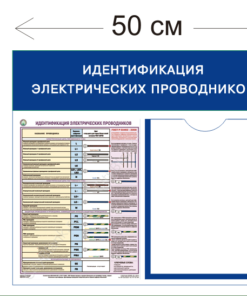 Стенд Идентификация электрических проводников 45х50см (1 карман А4 + 1 плакат)