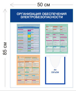 Стенд Организация обеспечения электробезопасности 85х50см (1 объемный карман А4 + 3 плаката)