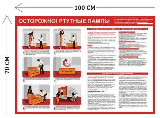Стенд Осторожно! Ртутные лампы 70х100см (1 плакат)