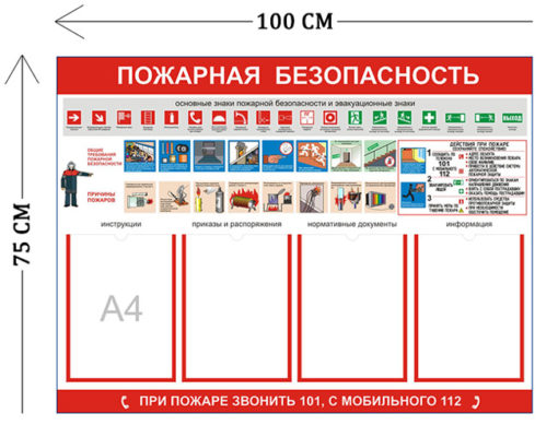 Стенд Пожарная безопасность 75х100см (4 кармана А4 + 1 плакат)
