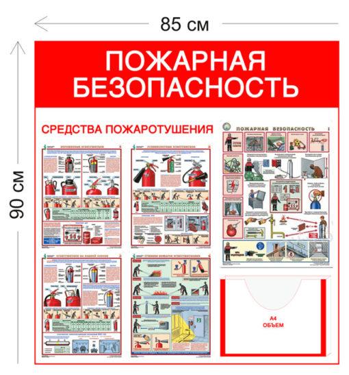 Стенд Пожарная безопасность 90х85см (1 объемный карман А4 + 5 плакатов)