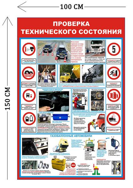 Стенд Проверка технического состояния 150х100см (1 плакат)