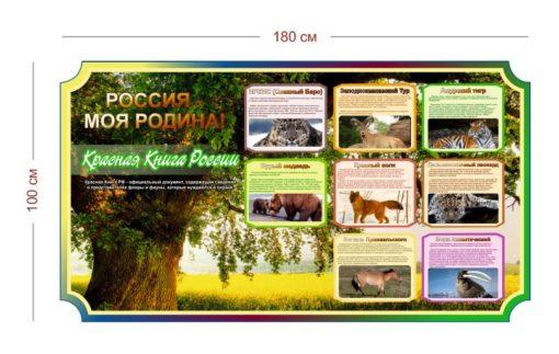 Стенд Россия - моя родина(Красная Книга России) 180х100 см