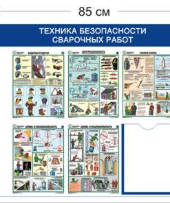 Стенд Техника безопасности сварочных работ 75х85см (1 карман А4 + 5 плакатов)