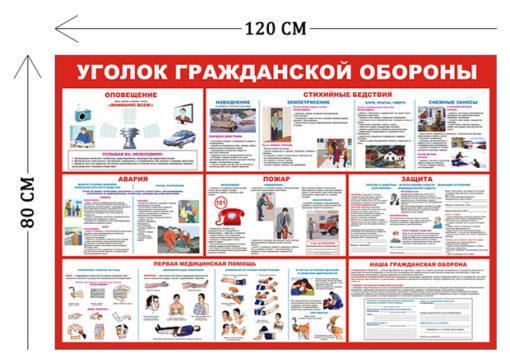 Стенд Уголок гражданской обороны 80х120см (7 плакатов)