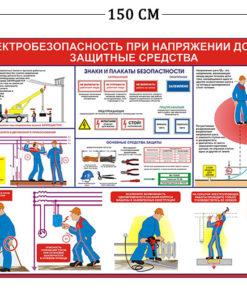 Стенд Электробезопасность при напряжении до 1000 V 100х150см (1 плакат)
