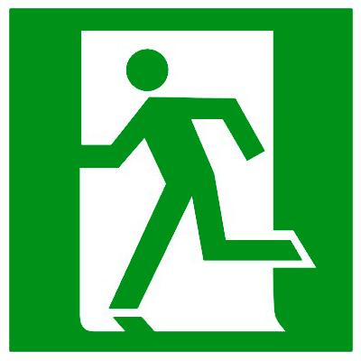 Эвакуационный знак Выход здесь левосторонний (E 01-01)