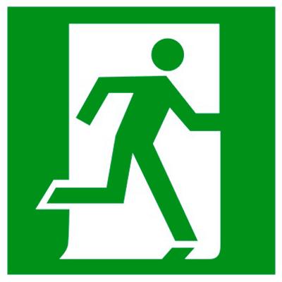 Эвакуационный знак Выход здесь правосторонний (E 01-02)