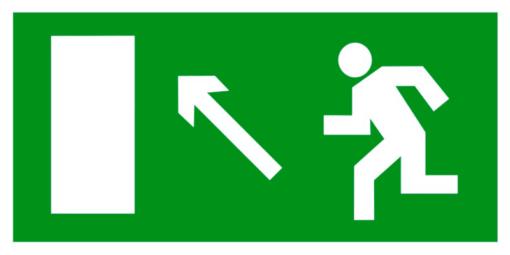 Эвакуационный знак Направление к эвакуационному выходу налево вверх (E 06)
