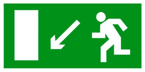 Эвакуационный знак Направление к эвакуационному выходу налево вниз (E 08)