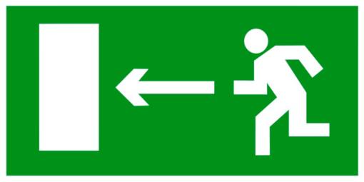 Эвакуационный знак Направление к эвакуационному выходу налево (E 04)