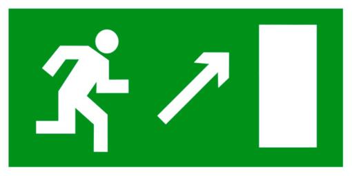 Эвакуационный знак Направление к эвакуационному выходу направо вверх (E 05)