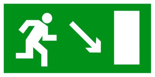 Эвакуационный знак Направление к эвакуационному выходу направо вниз (E 07)