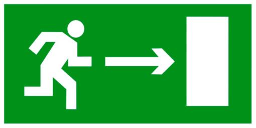 Эвакуационный знак Направление к эвакуационному выходу направо (E 03)