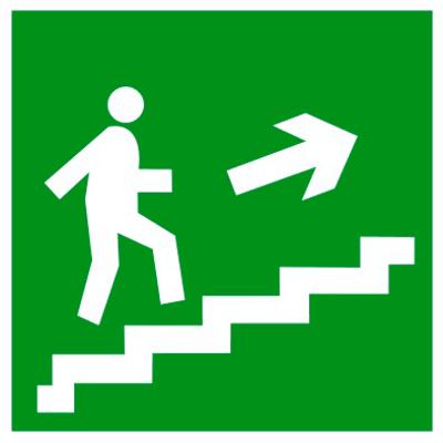 Эвакуационный знак Направление к эвакуационному выходу по лестнице вверх (E 15)