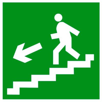Эвакуационный знак Направление к эвакуационному выходу по лестнице вниз налево (E 14)