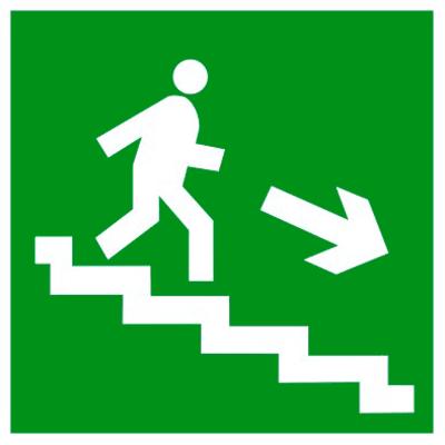 Эвакуационный знак Направление к эвакуационному выходу по лестнице вниз направо (E 13)