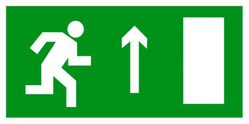 Эвакуационный знак Направление к эвакуационному выходу прямо правосторонний (E 11)