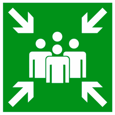 Эвакуационный знак Пункт (место) сбора (E 21)